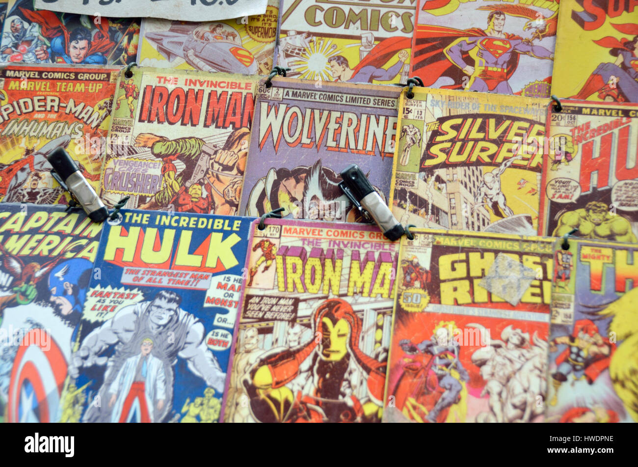 Old Marvel superhero comic books. Stock Photo
