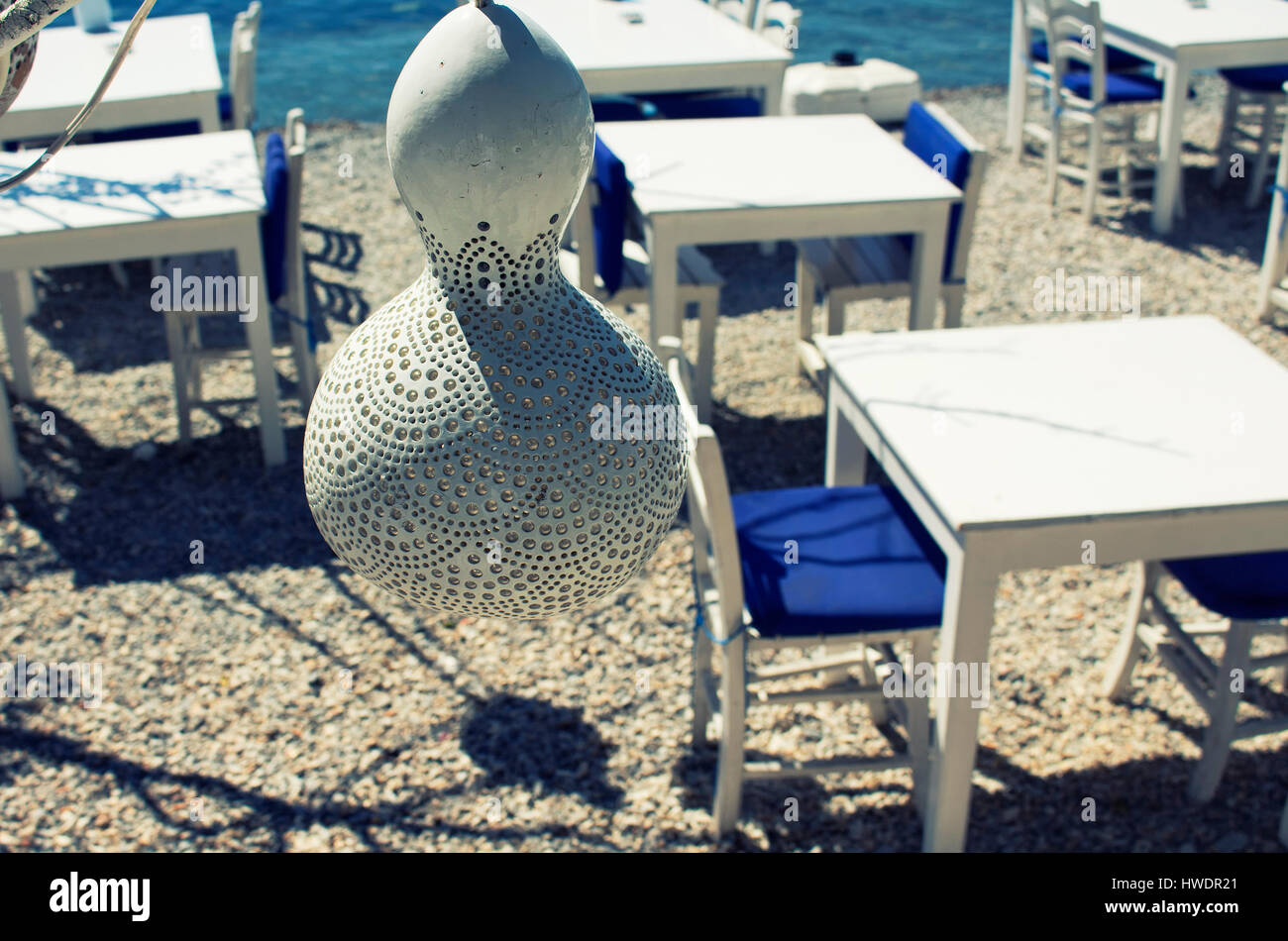 Handmade Lamp Made Of Water Pumpkin Calabash At Seaside Bodrum City In Turkey Tables On Beach Are The Background This Style Lighting Is Comm