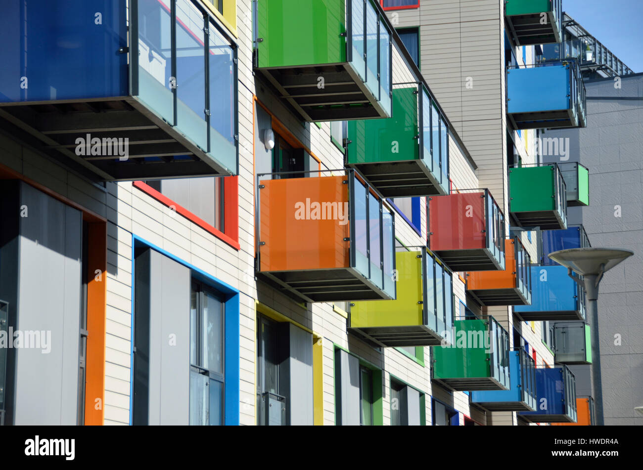 Colourful apartment exteriors in Hale Village, Tottenham Hale, London, UK. - Stock Image