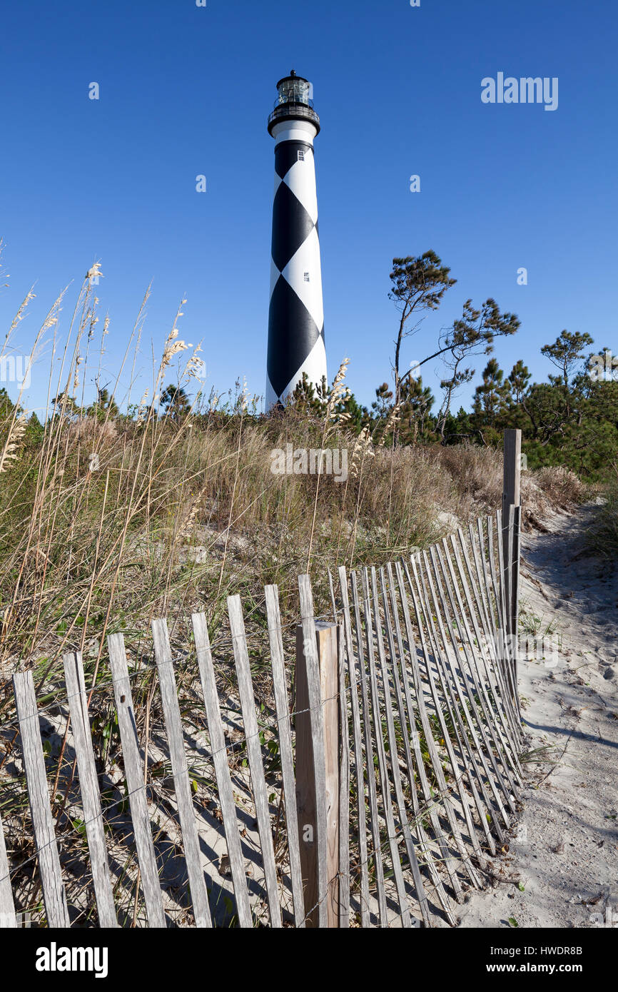 NC00875-00....NORTH CAROLINA - Cape Lookout Lighthouse on the South Core Banks in Cape Lookout National Seashore. - Stock Image