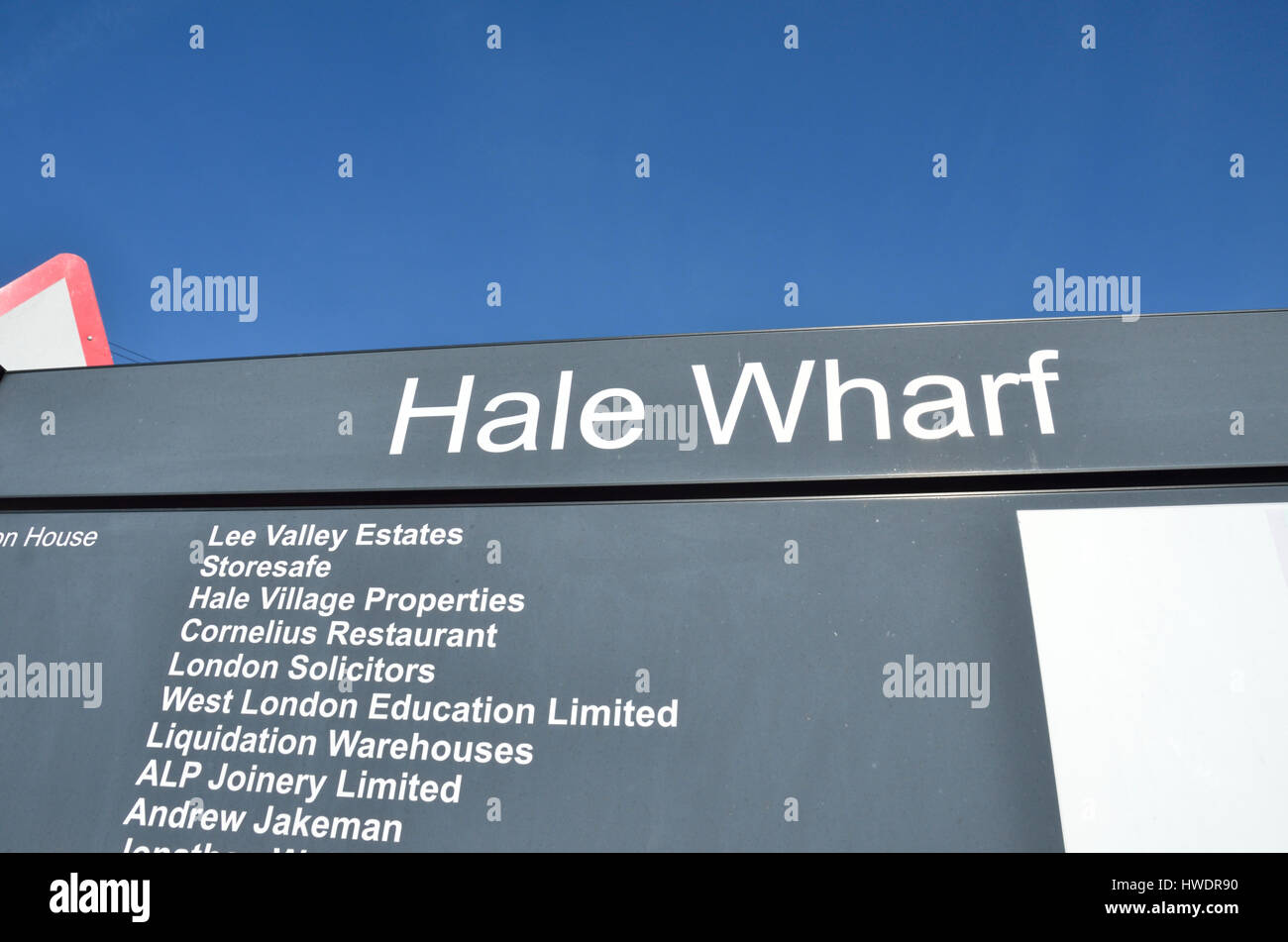 Hale Wharf sign, Tottenham Hale, London, UK. - Stock Image