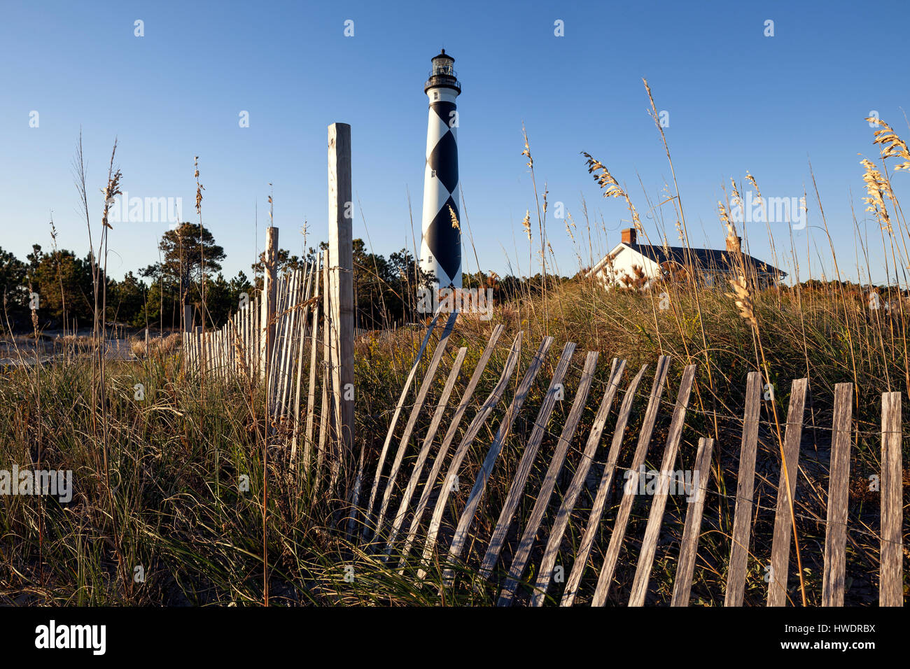 NC00886-00....NORTH CAROLINA -  Cape Lookout Lighthouse on the South Core Banks in Cape Lookout National Seashore. - Stock Image