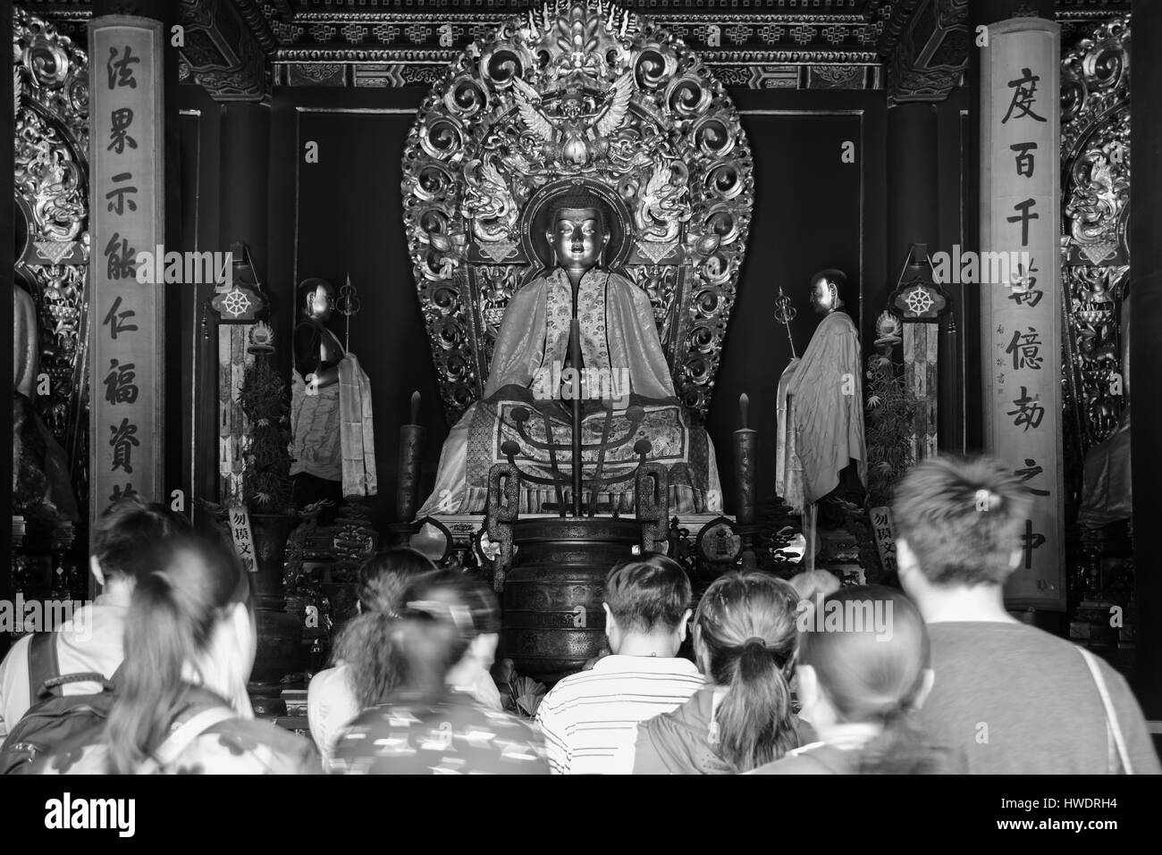 The buddha image color in black and white at the tibetan buddhist lama temple