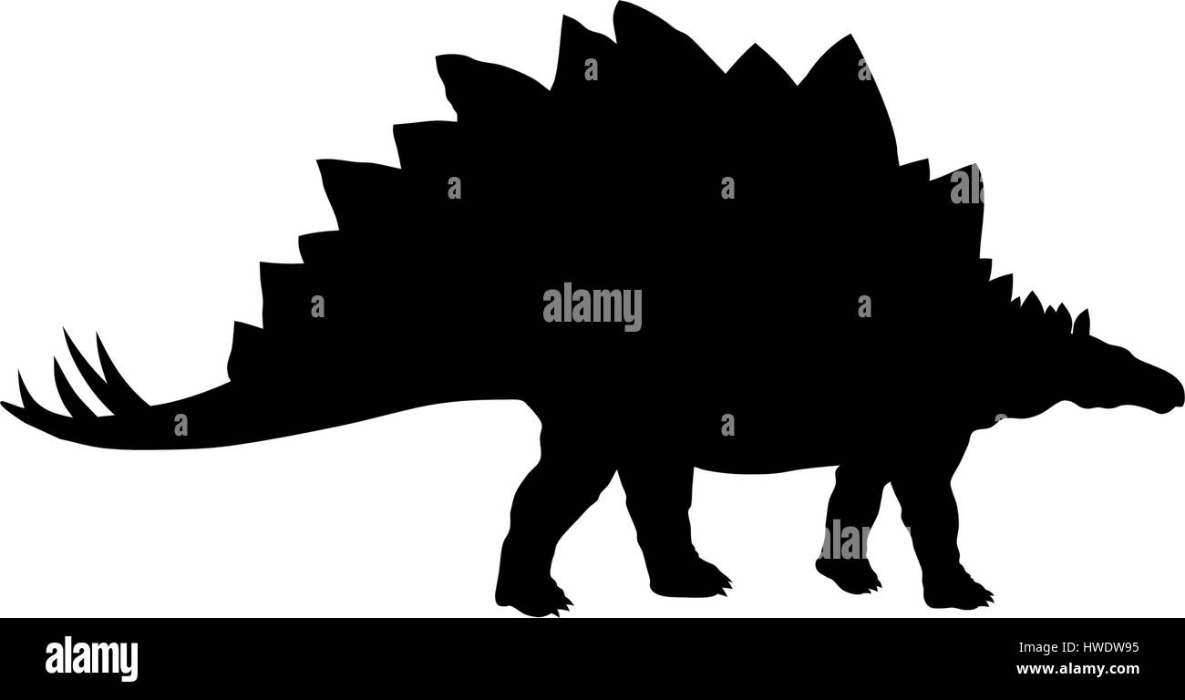 Abstract vector illustration of prehistoric animal silhouette - Stock Image