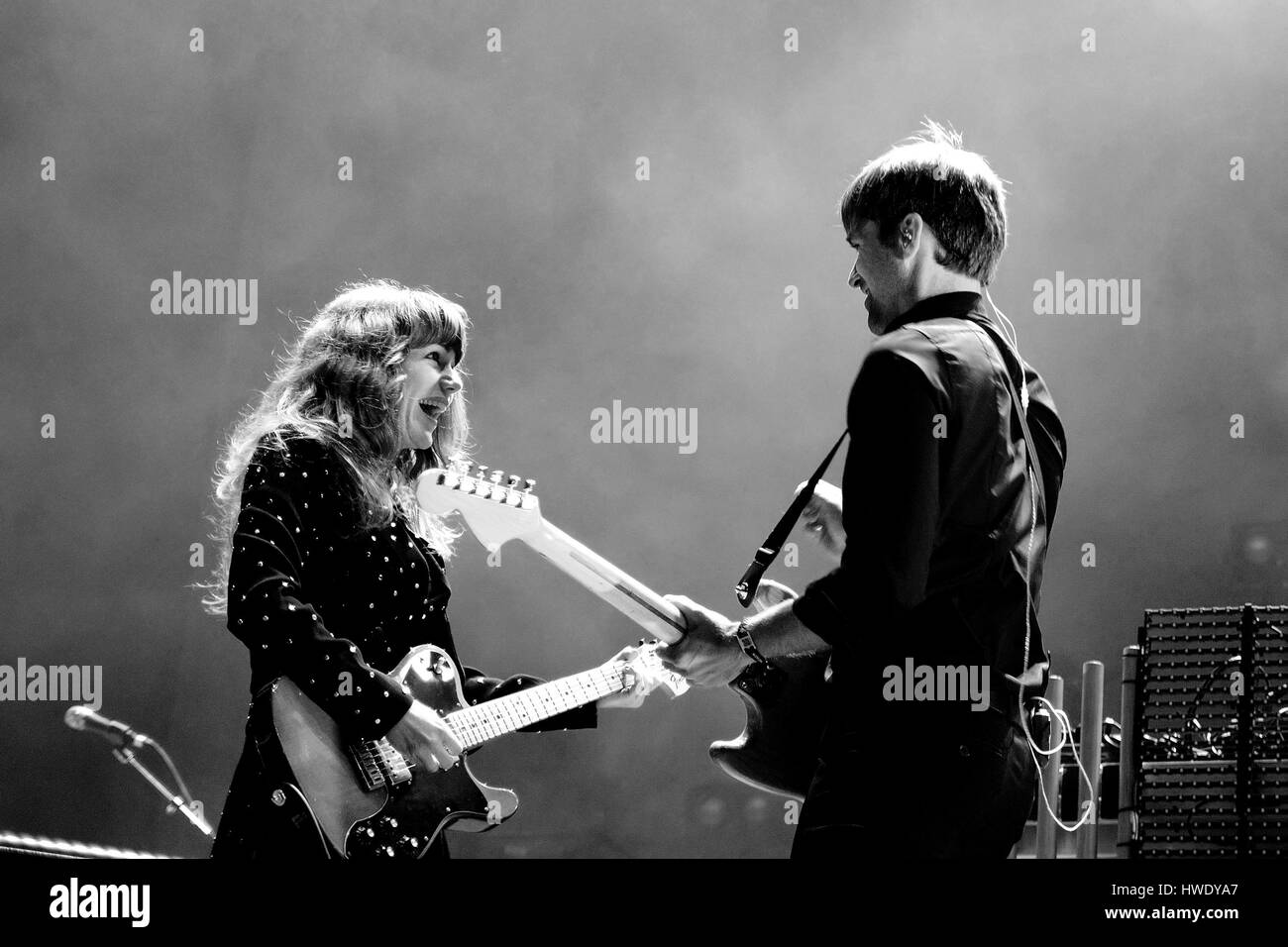 BARCELONA - MAY 23: The Postal Service (American rock musical supergroup) in concert at Heineken Primavera Sound - Stock Image