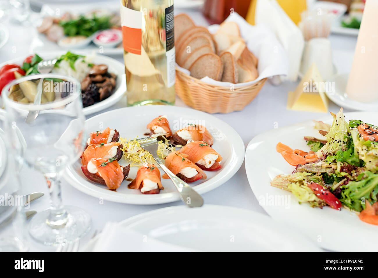 Restaurant Table With Food Tasty Appetizers Salads