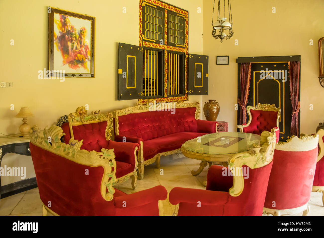 Sitting Room in Keraton Royal Palace, Sumenep, Madura, Indonesia - Stock Image