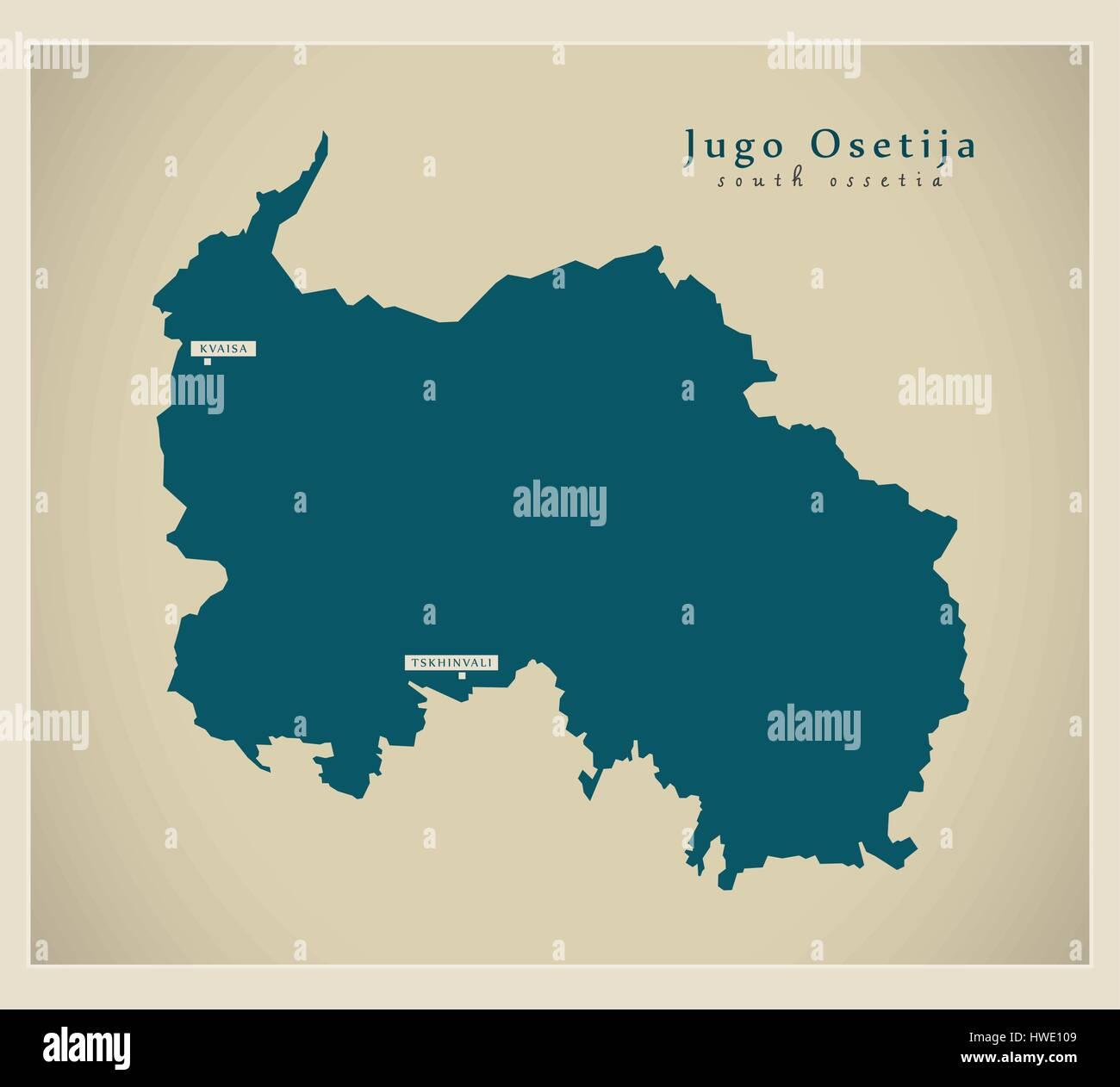 Modern Map - Jugo Osetija GE - Stock Image