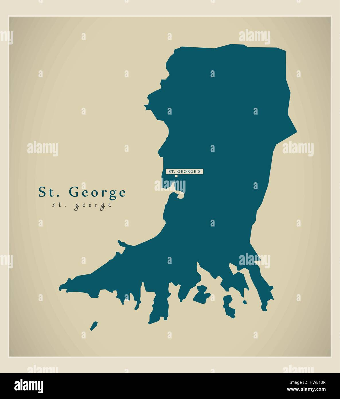 Modern Map - St. George GD - Stock Vector