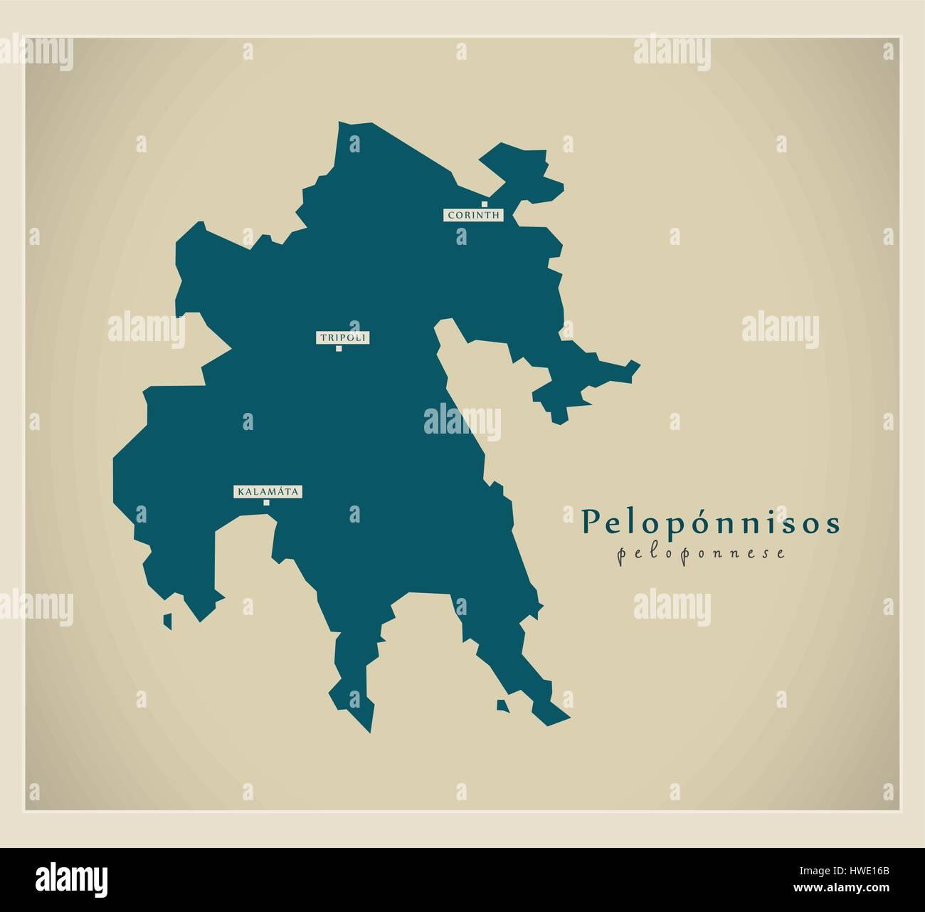 Modern Map - Peloponnisos GR Stock Vector