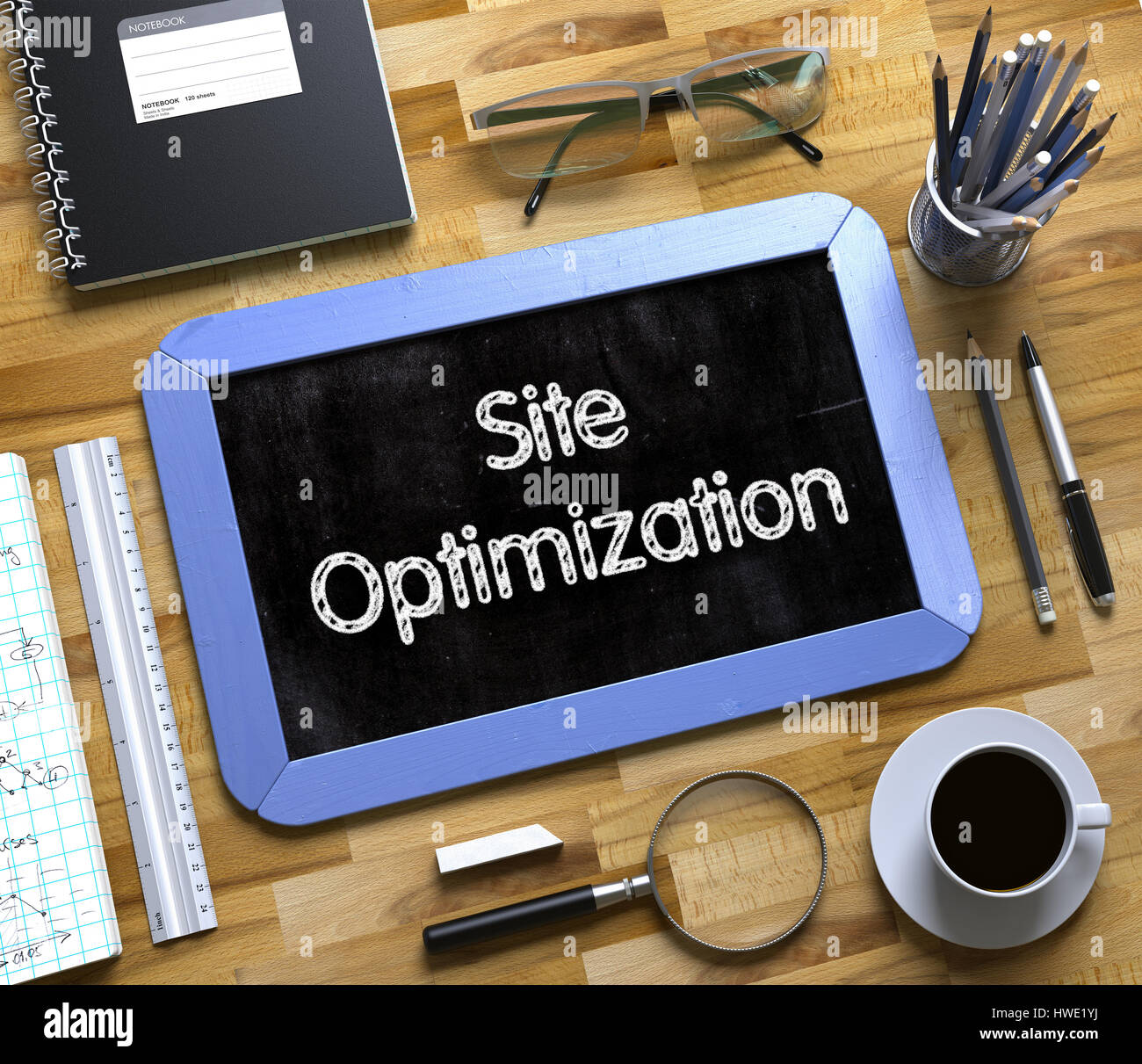 Small Chalkboard with Site Optimization Concept. 3d. - Stock Image