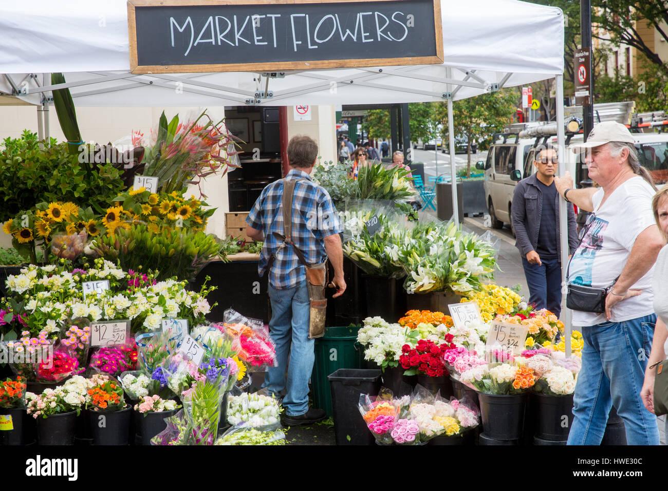 Market stalls in the famous Rocks market in Argyle street, The Rocks,Sydney,Australia - Stock Image