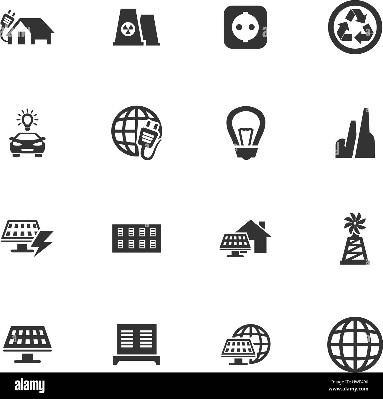 Alternative energy icons set for web sites and user interface - Stock Image