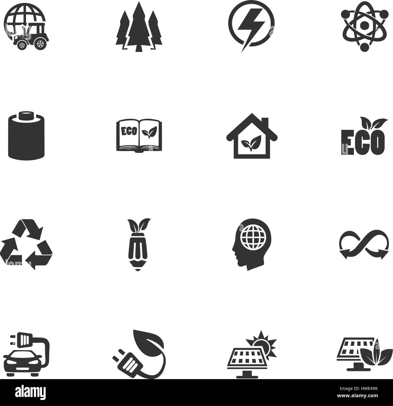 BIO Fuel industry icons set for web sites and user interface - Stock Image