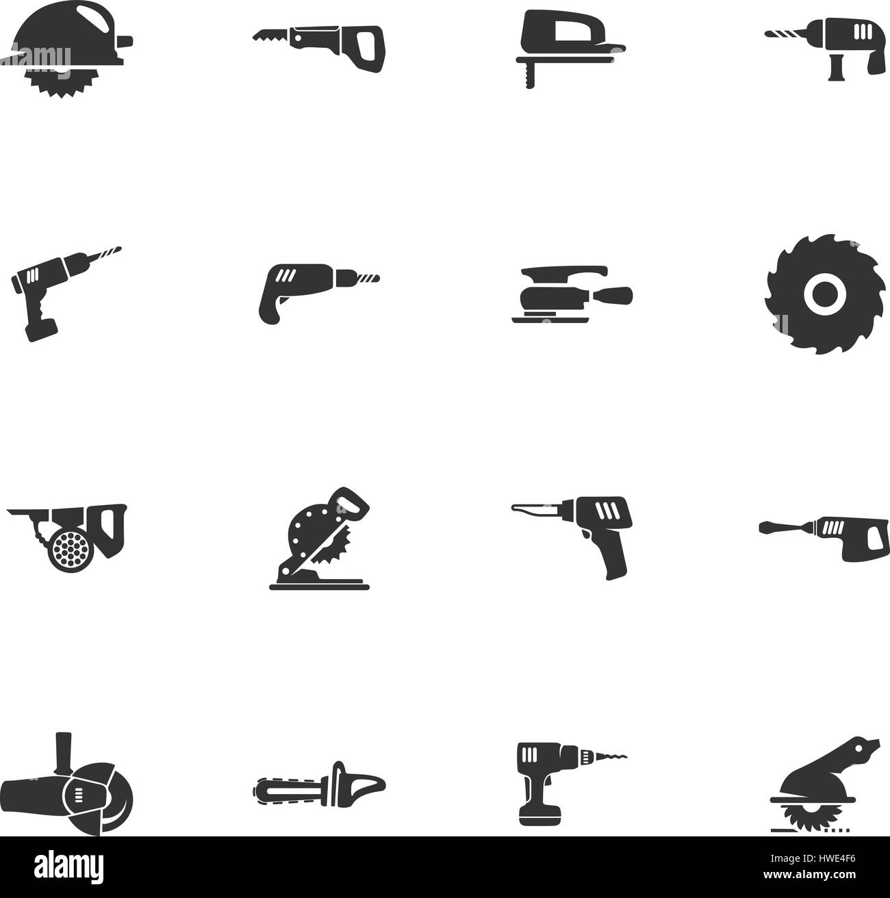 Power tools icon set for web sites and user interface - Stock Image