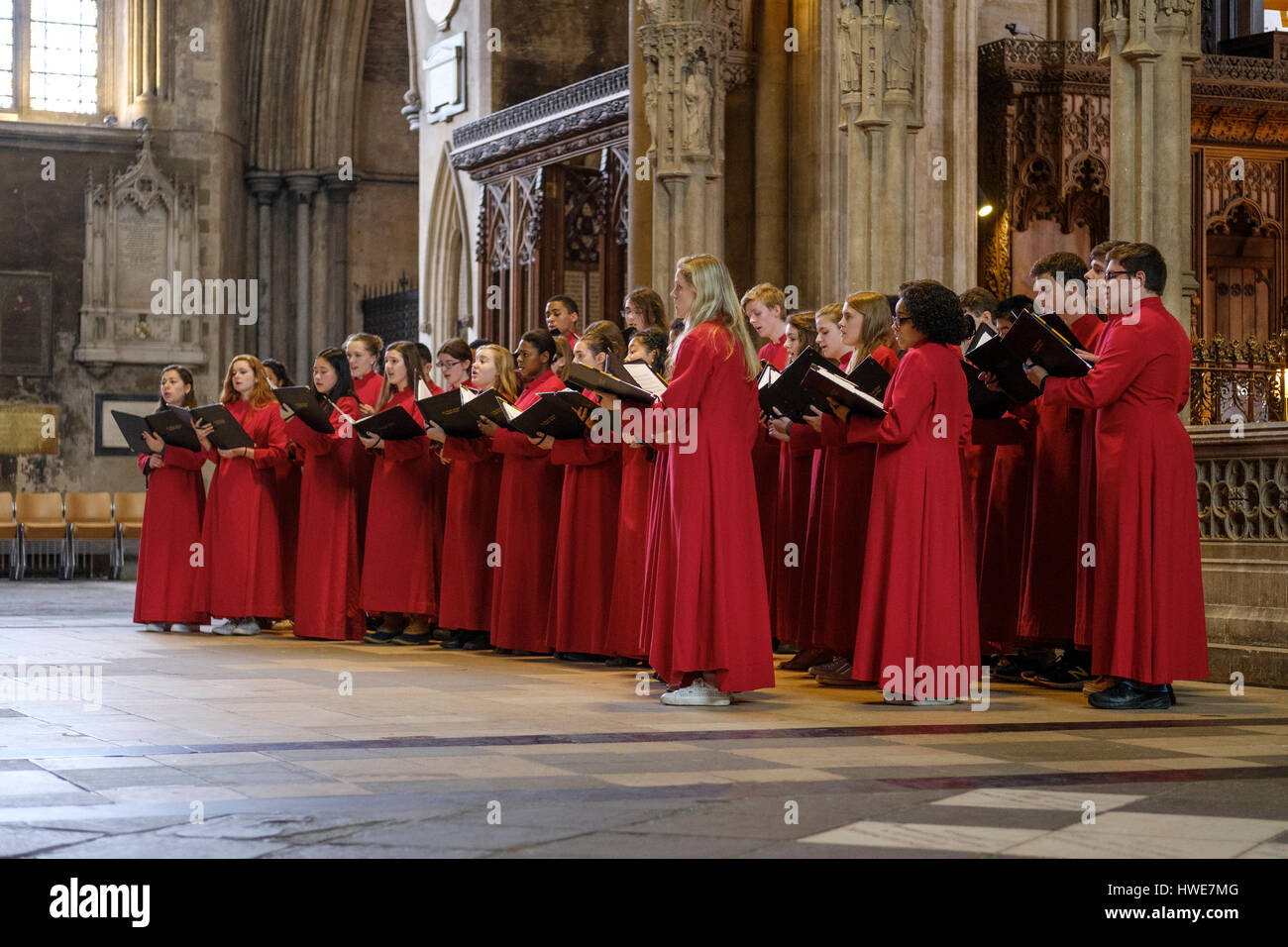 St Paul's School choir from Concrod, New Hampshire performing a recital in Bristol Cathedral, UK. - Stock Image