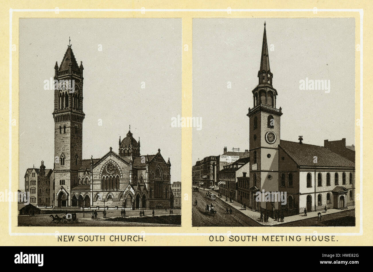 Antique 1883 monochromatic print from a souvenir album, showing the New Old South Church and Old South Meeting House - Stock Image