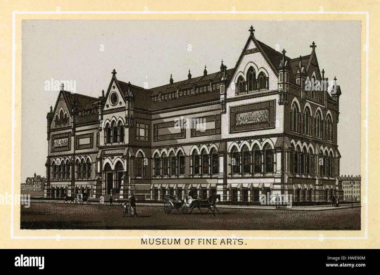 Antique 1883 monochromatic print from a souvenir album, showing the original Museum of Fine Arts building in Boston, - Stock Image