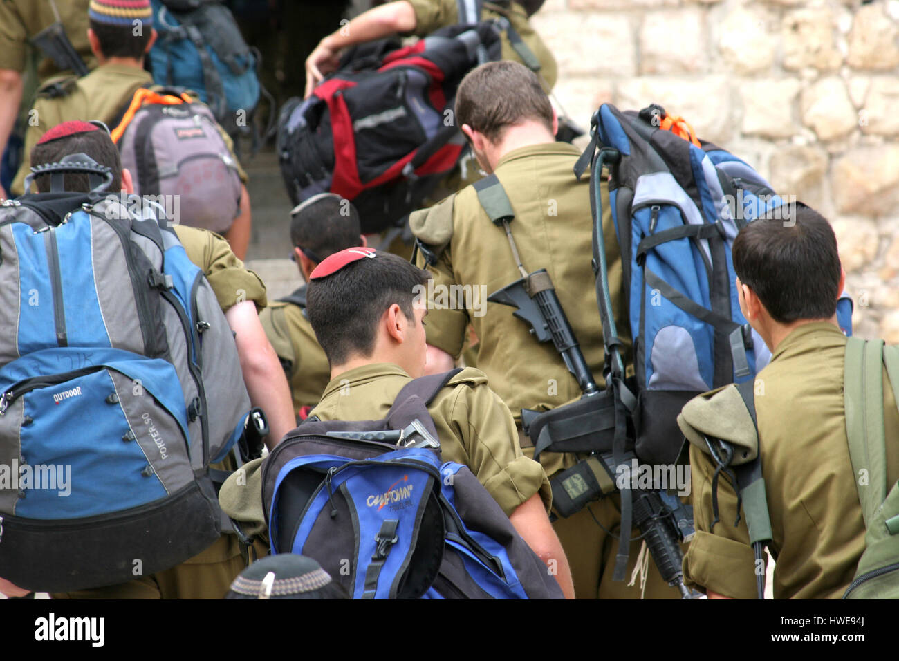 Members of the Israeli Border Police in the Old City of Jerusalem - Stock Image