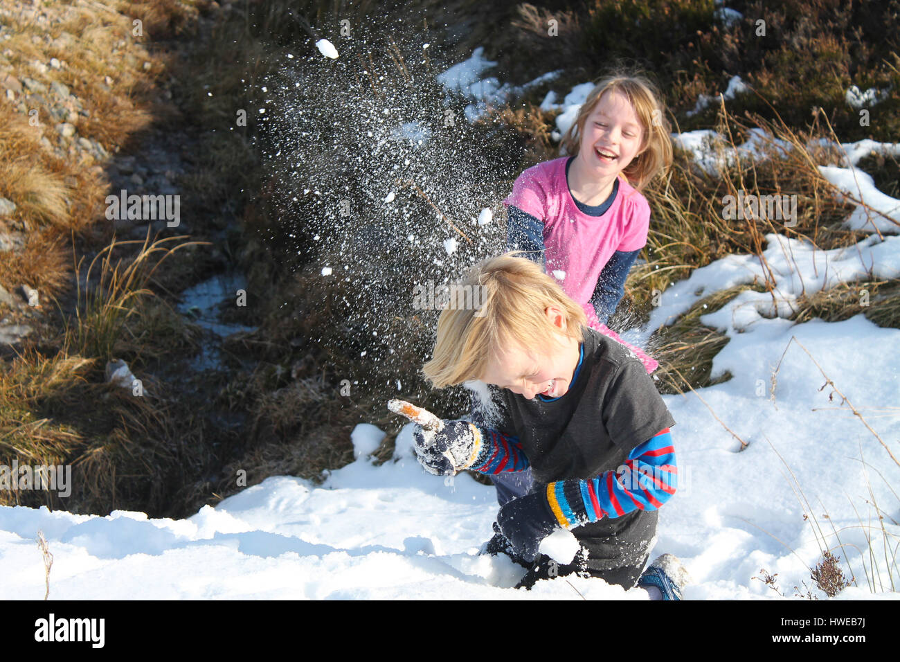 Children having a snowball fight with full impact - Stock Image