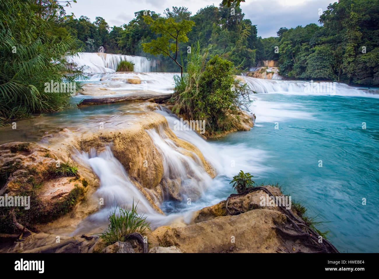 Agua Azul waterfalls in Chiapas, Mexico. - Stock Image