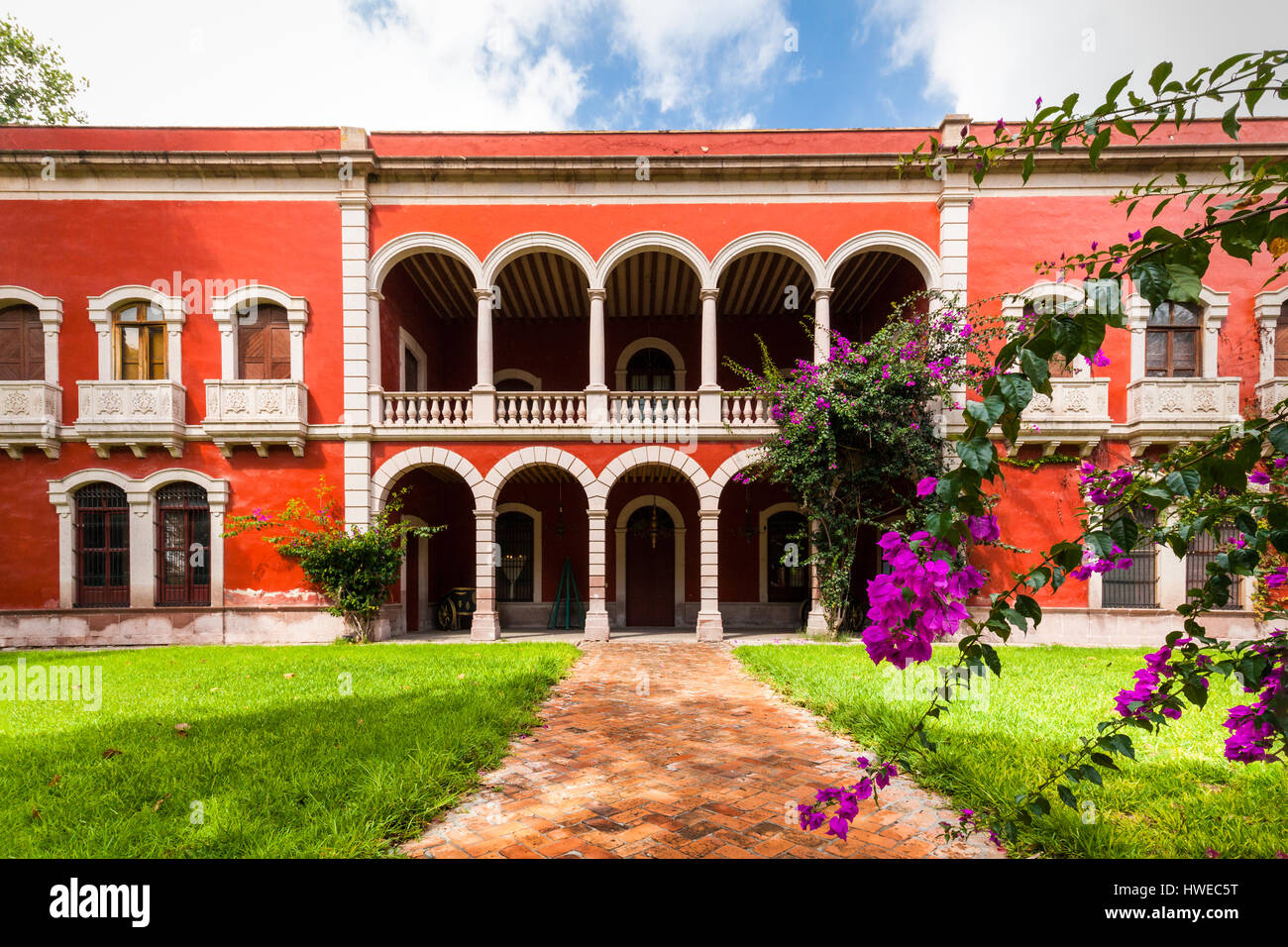 A facade of the grand ex hacienda El Gogorron in San Luis Potosi, Mexico. - Stock Image