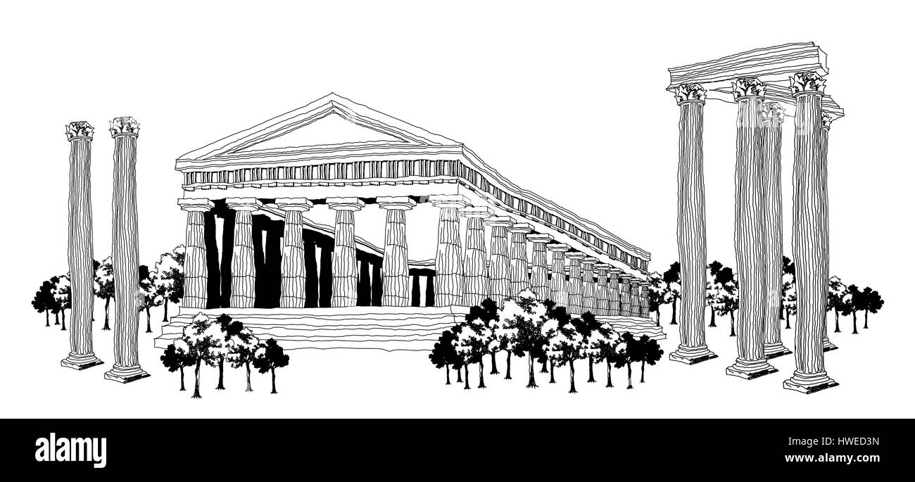 ancient,ancient civilization,architecture,art product,black and white,building exterior,capital cities,classical - Stock Image