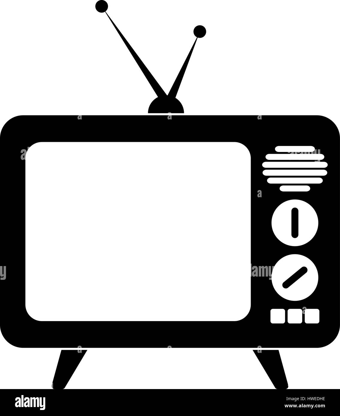 TV old vector illustration in black color on a white background - Stock Image