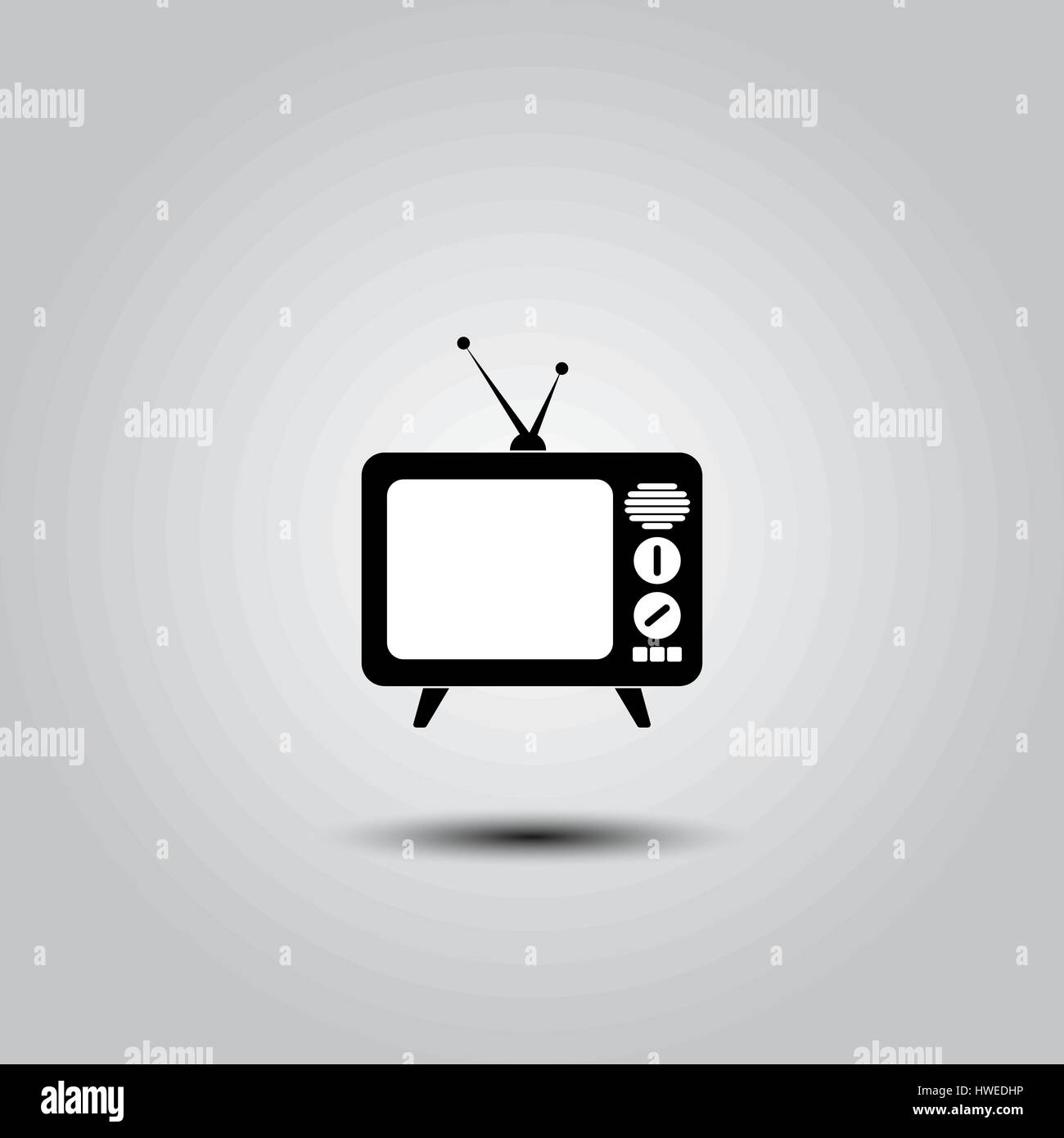 Tv Icon in trendy flat style isolated on grey background. Television symbol for your web site design, logo, app, - Stock Image