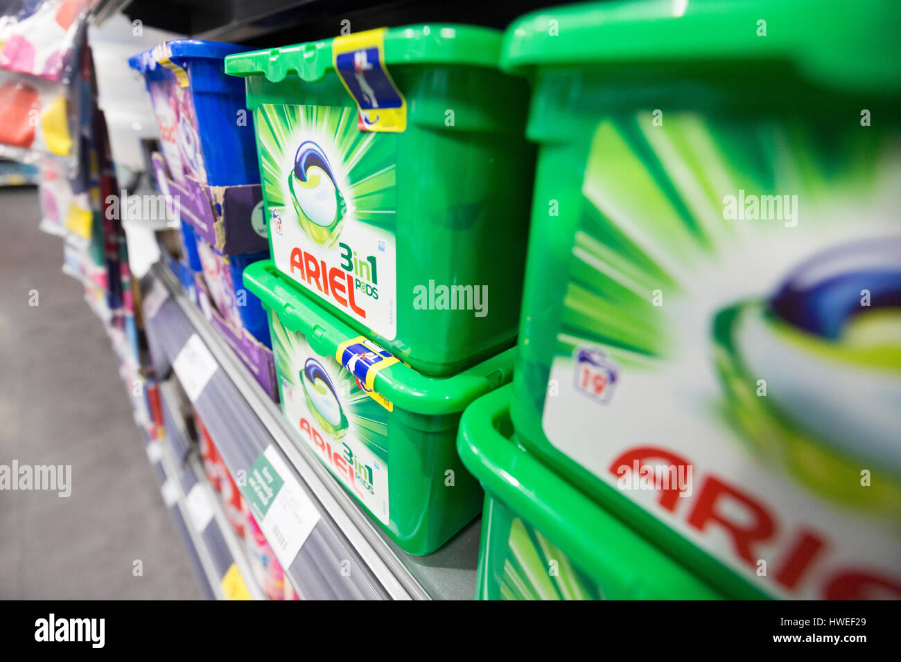 Ariel washing liquid on sale in a Morrisons supermarket - Stock Image
