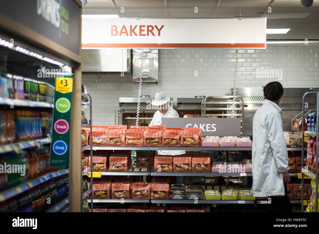Morrisons supermarket - Grafton St, Oxford Rd, Manchester M13 9NU. Bakery inside the store - Stock Image