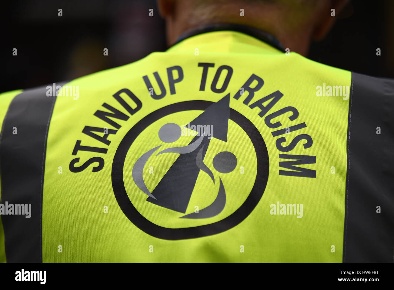 Stand up to racism. A demonstration took place in London on United Nations Anti Racism Day starting at Portland - Stock Image