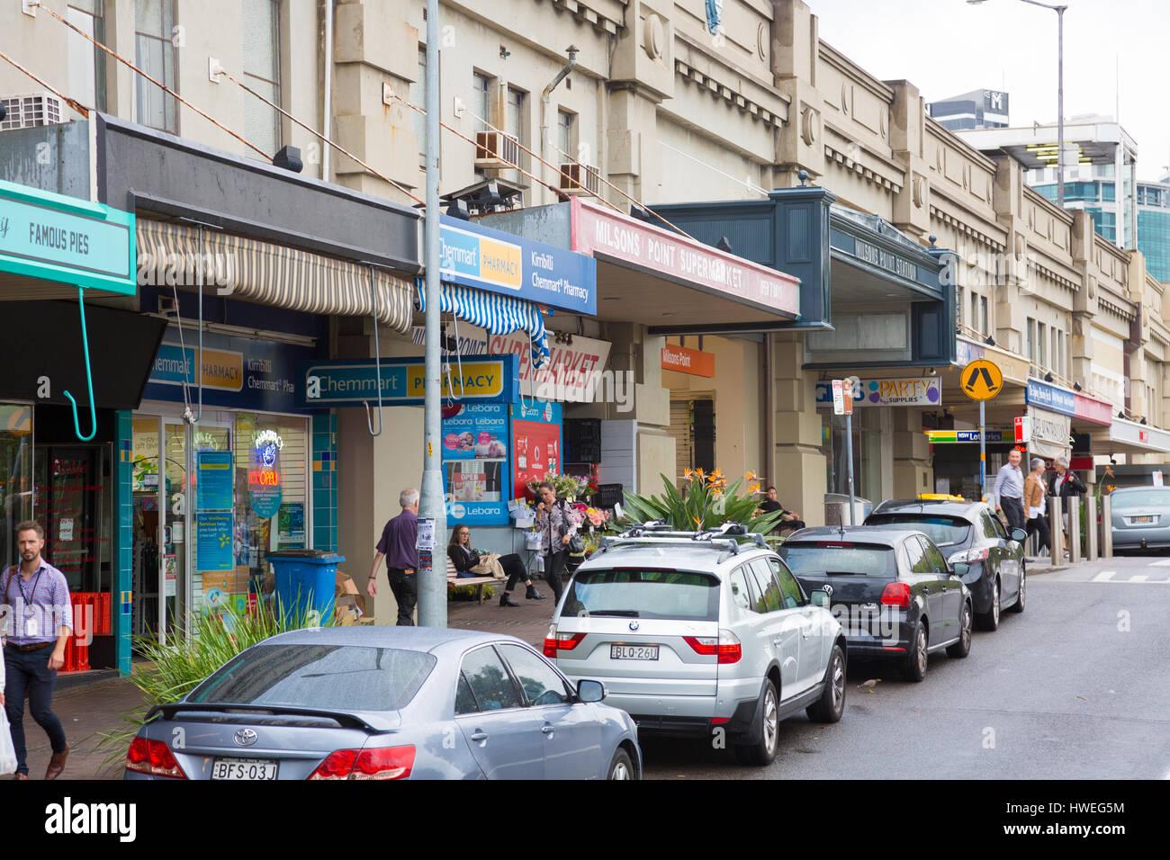Kirribilli high street and railway station,Sydney,Australia - Stock Image