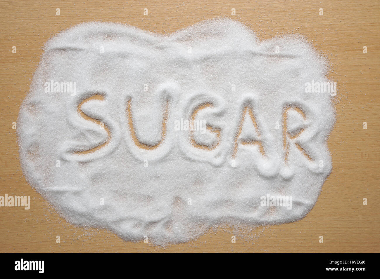 word sugar written in sugar - Stock Image