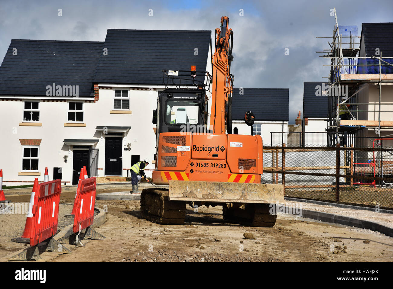 House construction Wick, building site, Wick, Vale of Glamorgan - Stock Image