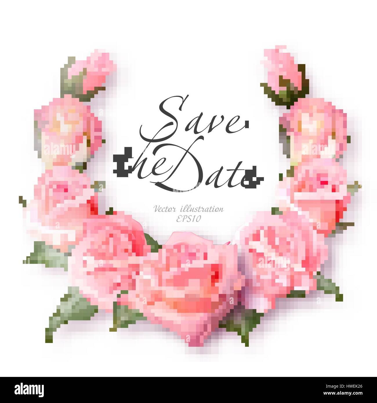 Realistic rose wreath. Delicate pink roses frame. Vintage Wedding ...