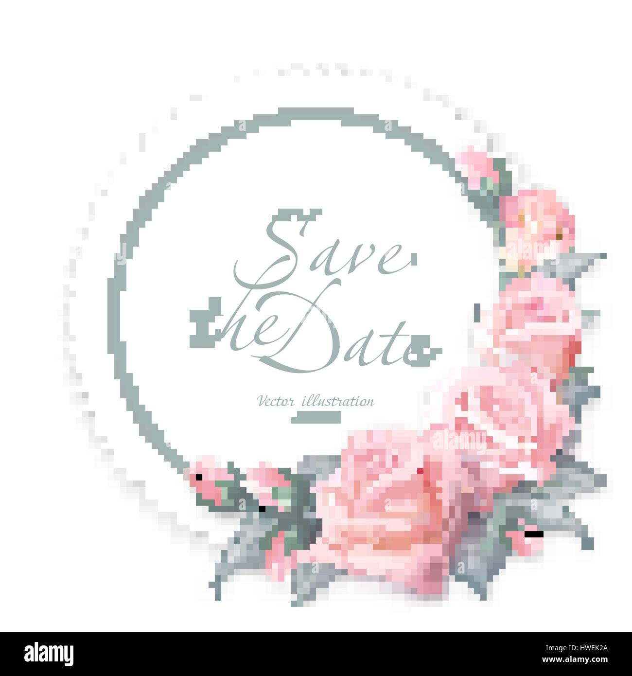Round Floral Frame Delicate Wedding Vector Design Pink Rose Flowers Colorful Objects Set All Elements Are Isolated And Editable Real