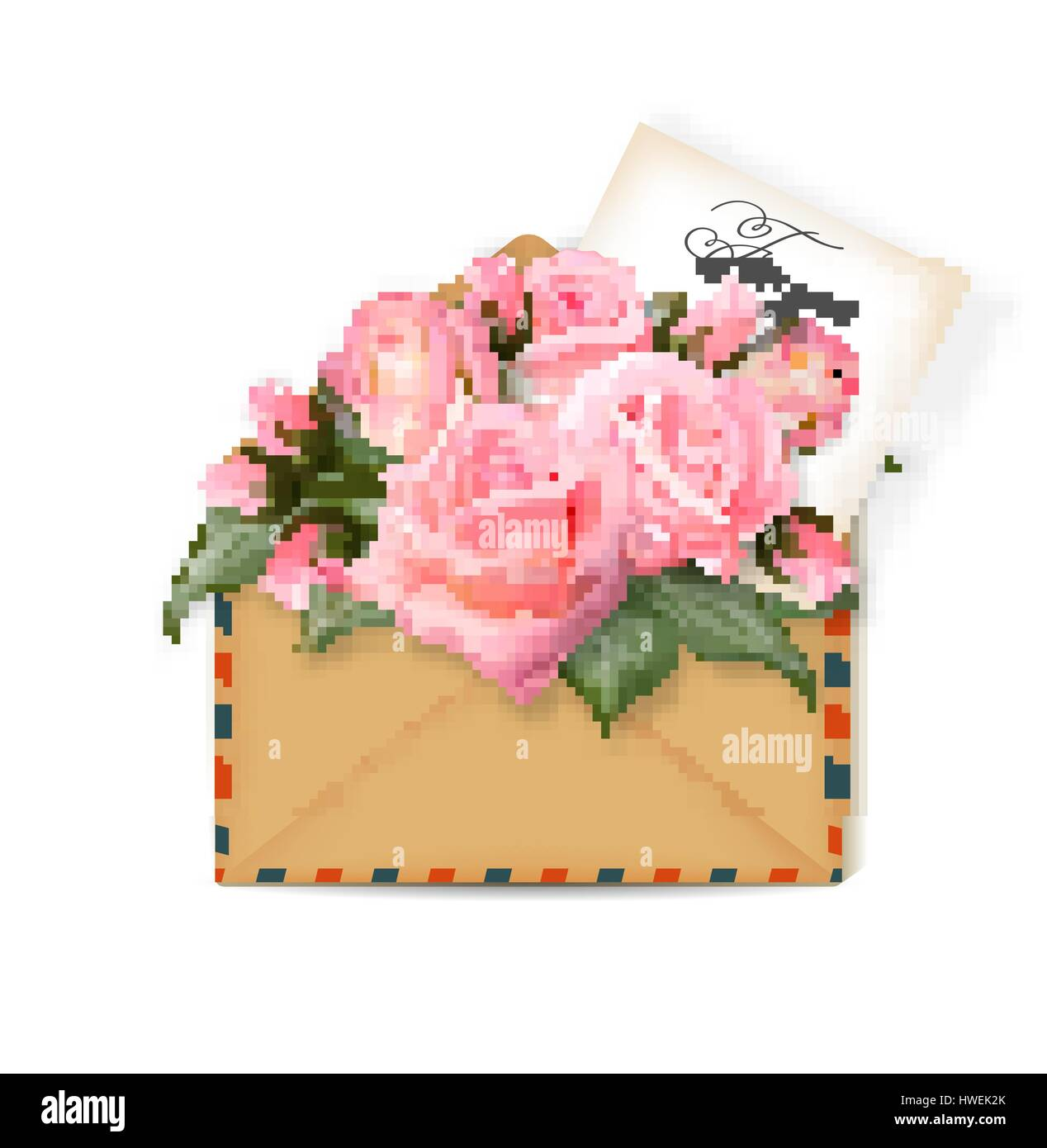 Roses with a note in an envelope template for greeting card banner roses with a note in an envelope template for greeting card banner an invitation mothers day card concept spring background vector the concept m4hsunfo