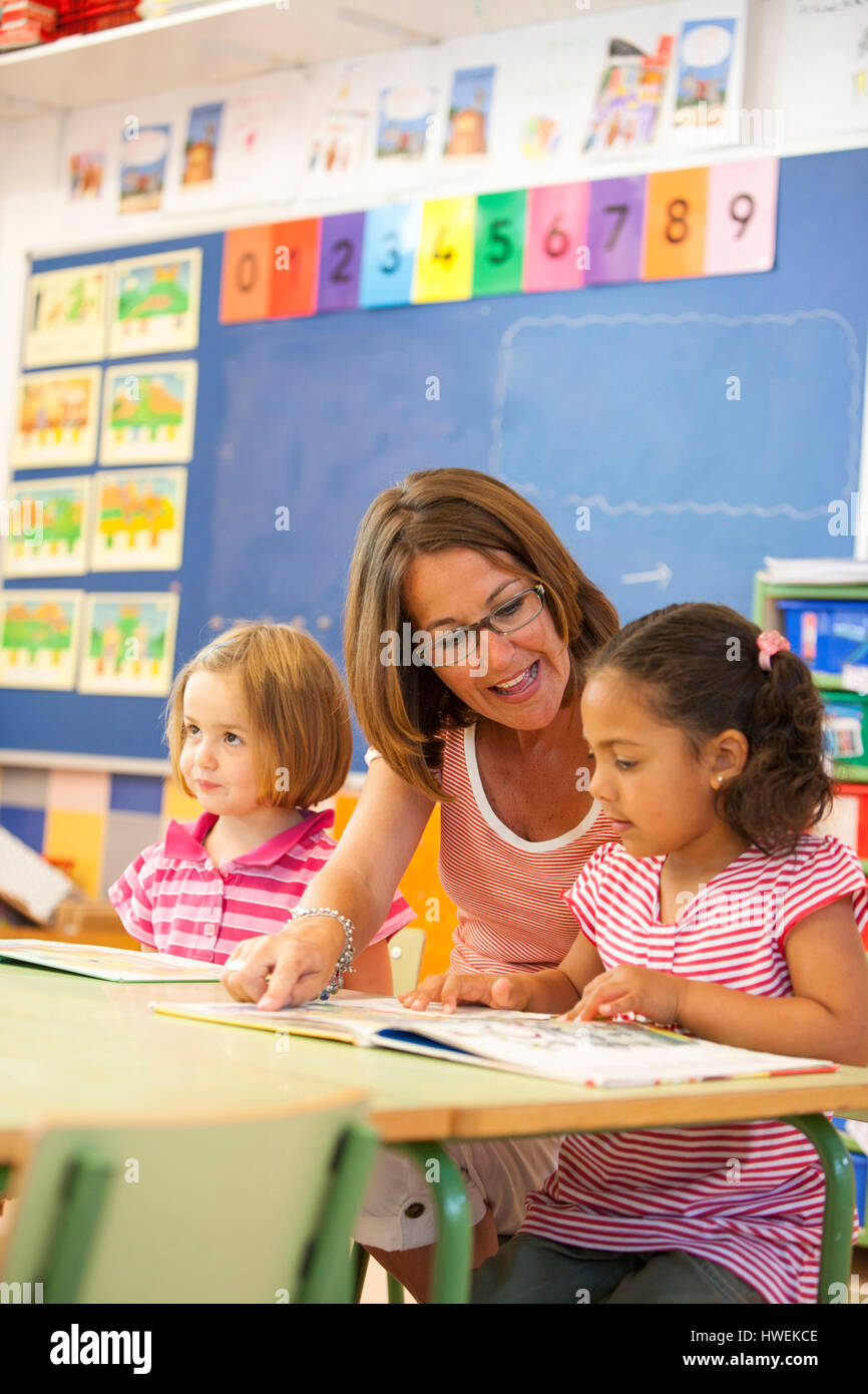 Preschool girls and teacher reading storybook in classroom - Stock Image