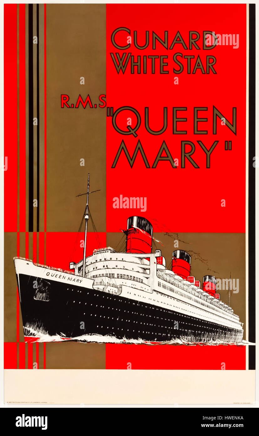 RMS Queen Mary 1936 publicity poster for the passenger liner that captured the Blue Riband in that year.  The ship - Stock Image