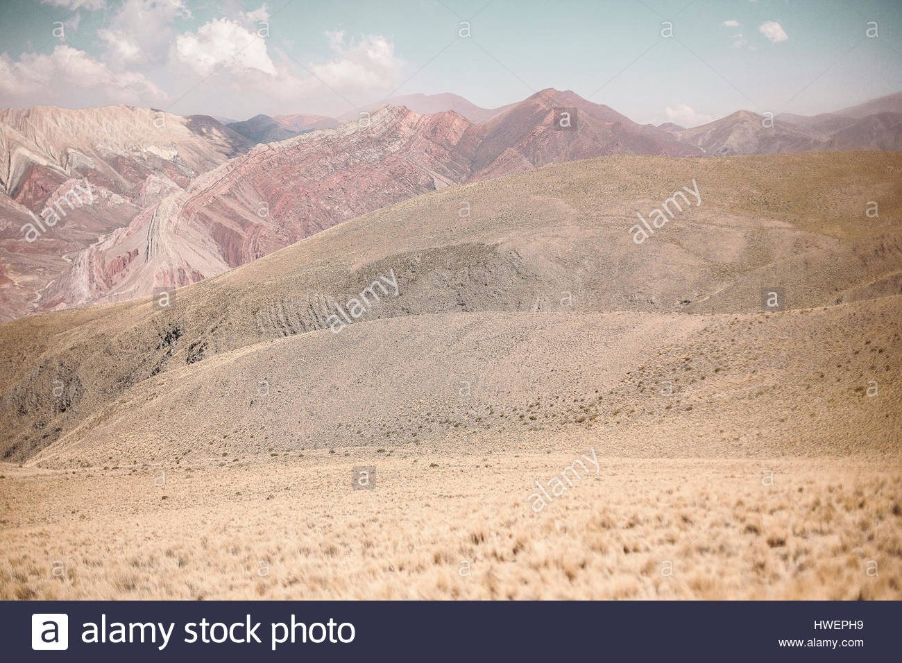 Naturally patterned mountains in Serranía de Hornocal, Jujuy, Argentina - Stock Image