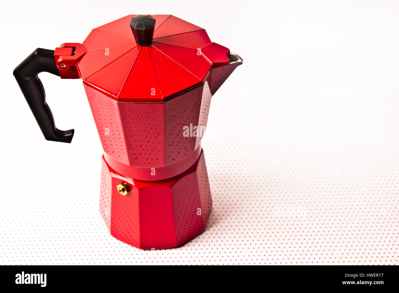 red coffee maker moka - Stock Image