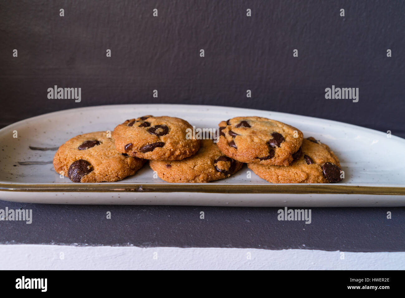 Chocolate Chip Cookies on Japanese Ceramic Plate - Stock Image