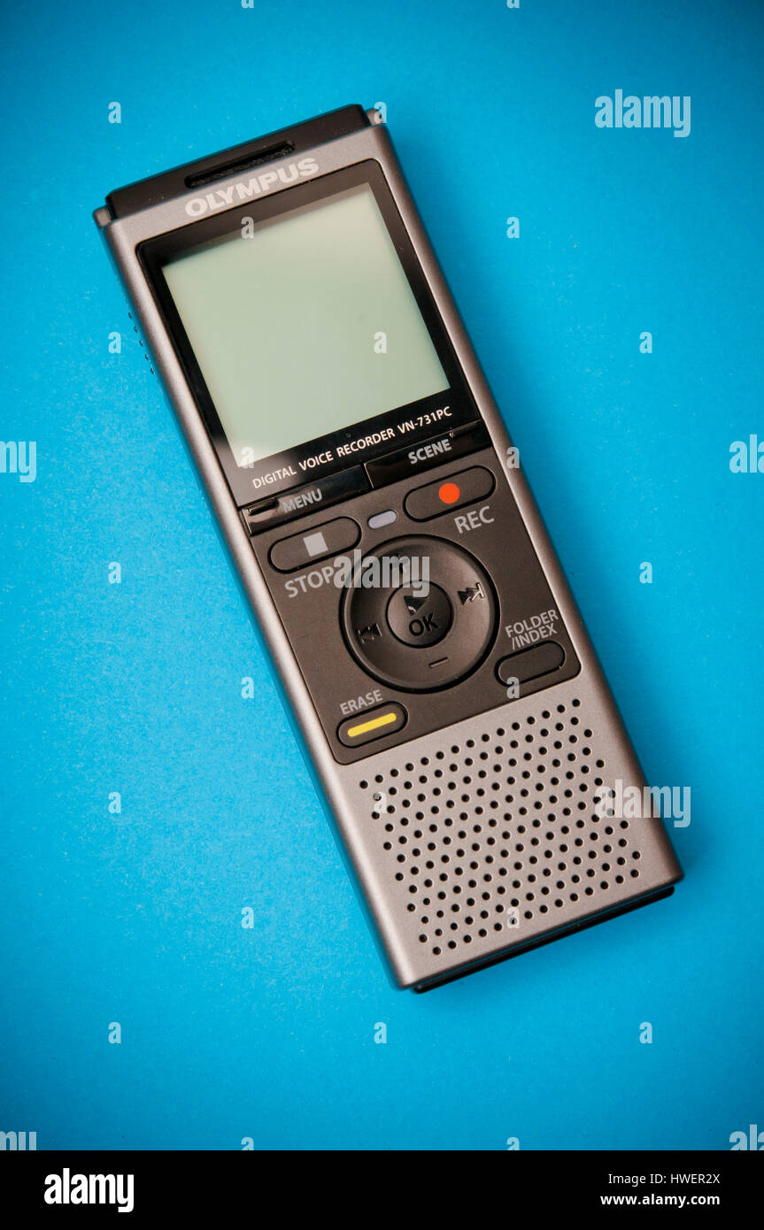 digital voice recorder isolated - Stock Image