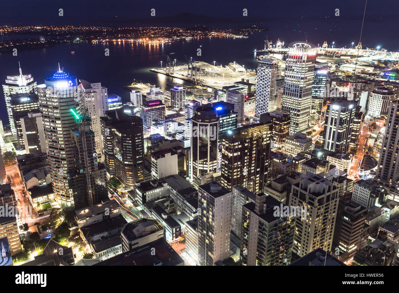 AUCKLAND, NEW ZEALAND - MARCH 1, 2017: An aerial view of Auckland central business district at night with the Hauraki - Stock Image