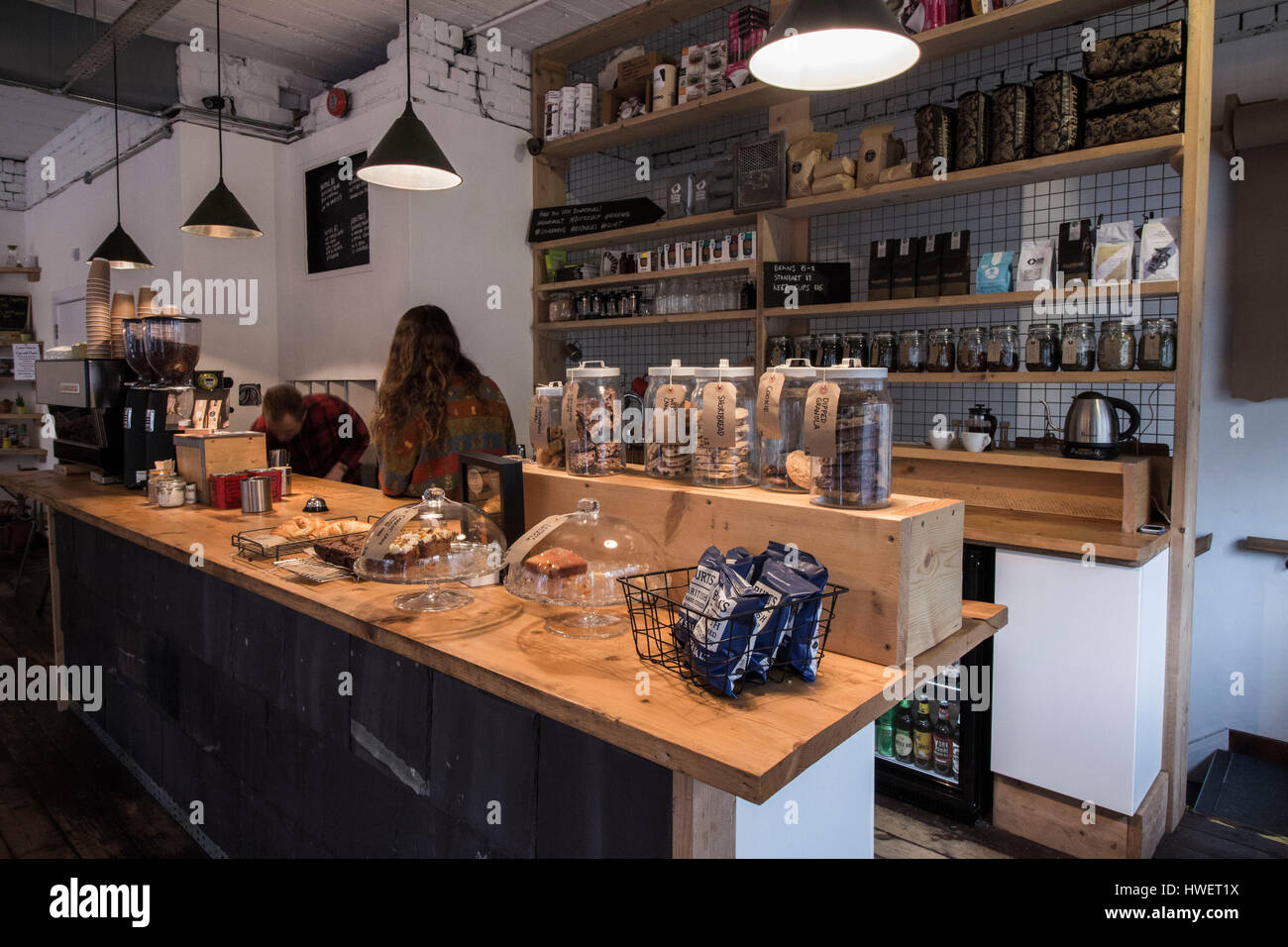 Inside Little Man Coffee Shop In Cardiff Wales Stock Photo