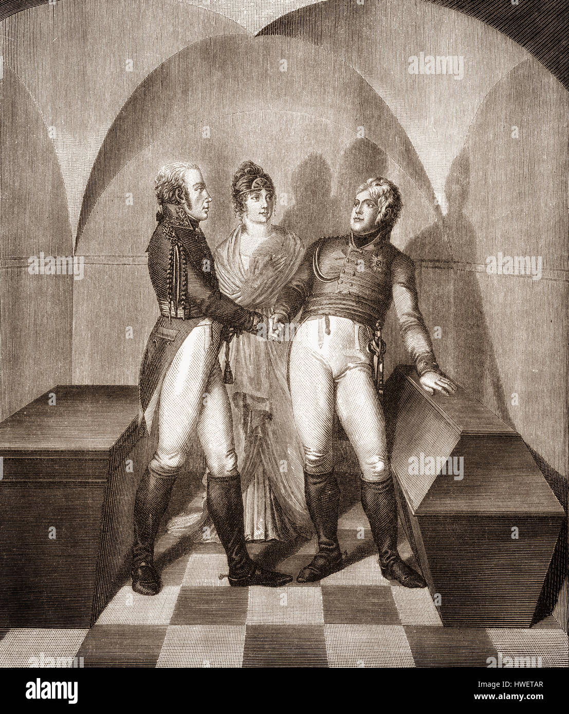 Emperor Alexander I of Russia at the tomb of Frederick II. at the Garrison Church in Potsdam, with Frederick William - Stock Image