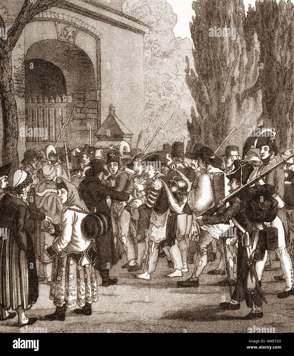 Passing of the Prussian prisoners, Napoleonic Wars, after the twin battles of Jena and Auerstädt, 1806, - Stock Image