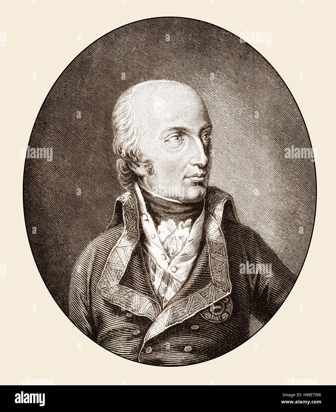 Carl Ludwig Johann Joseph Laurentius of Austria, Duke of Teschen, 1771 - 1847, an Austrian commander of the House - Stock Image