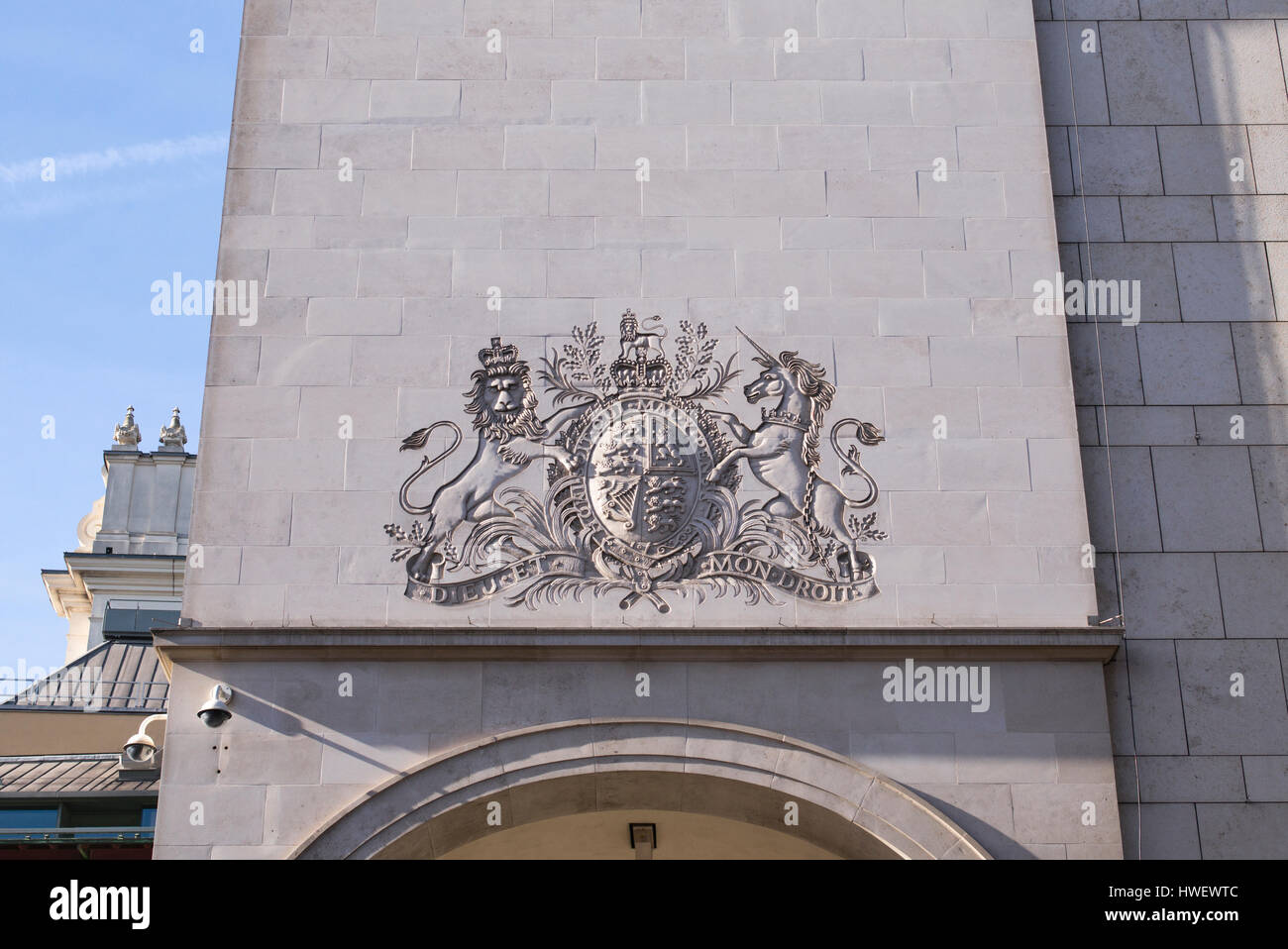 Royal Coat of Arms on the shopping arcade entrance to the Royal Opera House at Covent Garden. London. UK - Stock Image